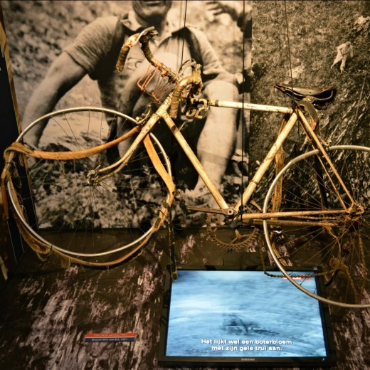 Wim's bicycle from the 1951 Tour de France in exhibition at the Spoorweg Museum