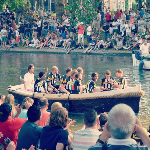 The team presentation in Park Lepelenburg where each team arrived in a boat. Here pictured is the team MTN-Qhubeka which made history with Daniel Teklehaimanot as he became the first African rider to wear the polka dot jersey.